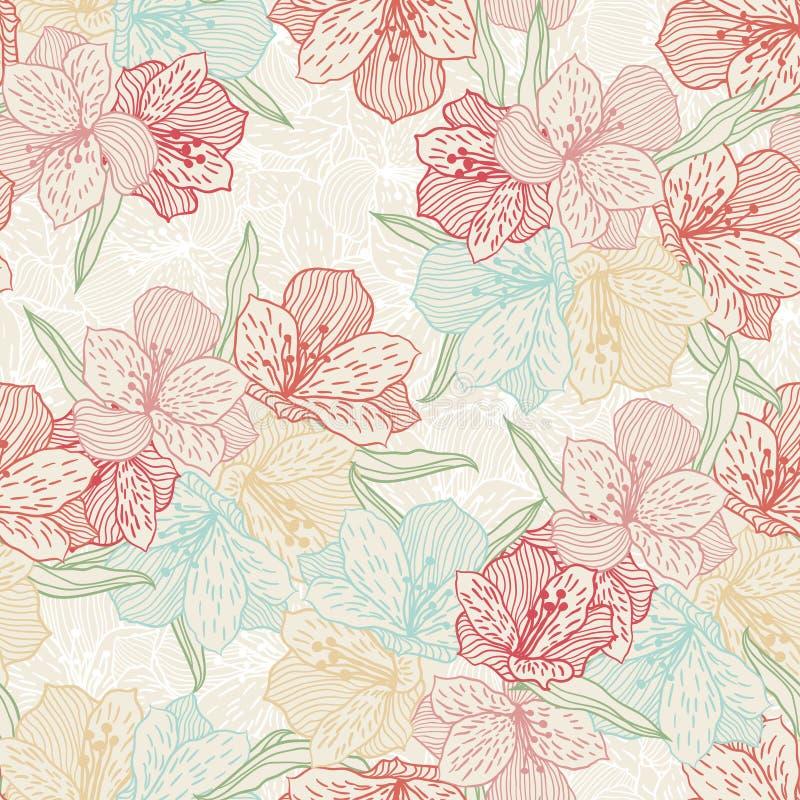 Sömlös blommamodell för abstrakt tappning med royaltyfri illustrationer