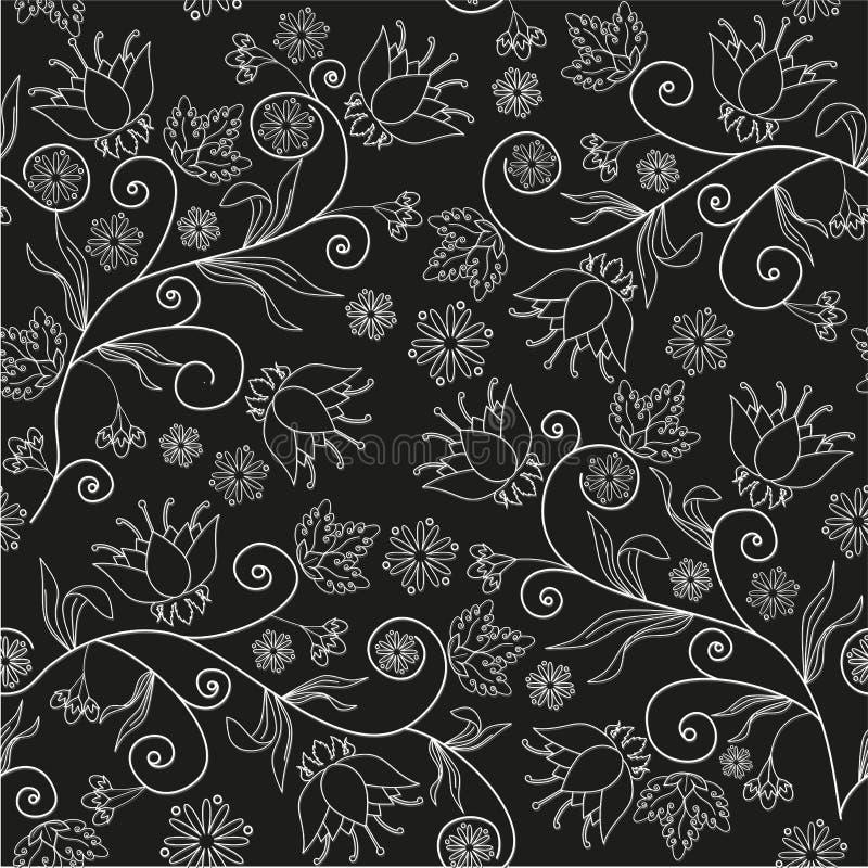 Sömlös blommatextur på svart bakgrund fotografering för bildbyråer