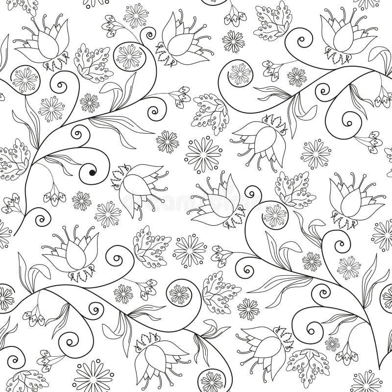 Sömlös blommatextur på vit bakgrund royaltyfria foton