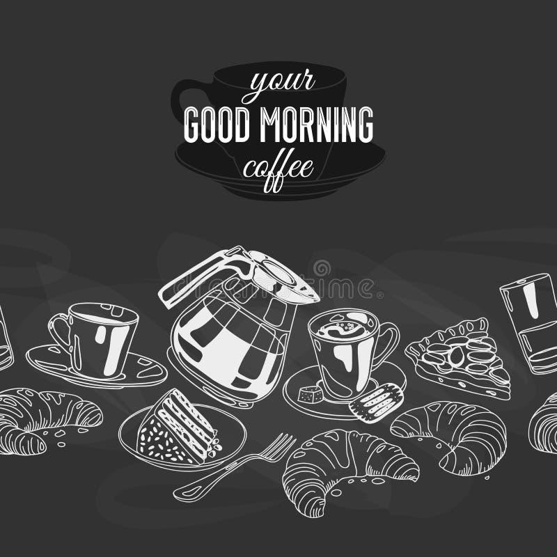 Sömlös boarder för vektor med kaffe och sötsaker royaltyfri illustrationer