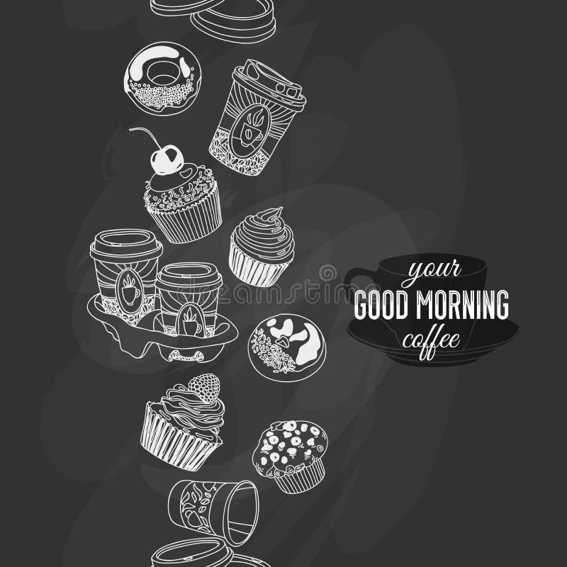 Sömlös boarder för vektor med kaffe och sötsaker vektor illustrationer