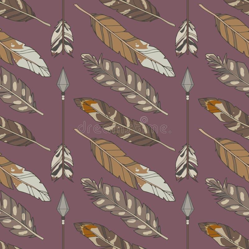 Sömlös bohomodell med naturliga kulöra örnfjädrar och pilar på purpurfärgad bakgrund stock illustrationer