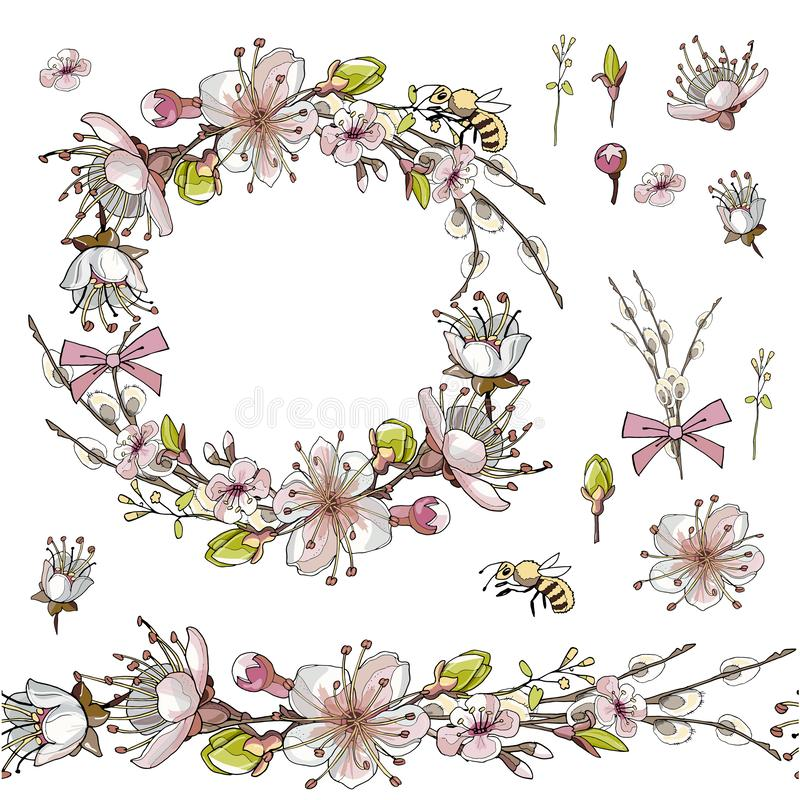 Sömlös borste, krans av aprikosblommor i på vit bakgrund royaltyfri illustrationer