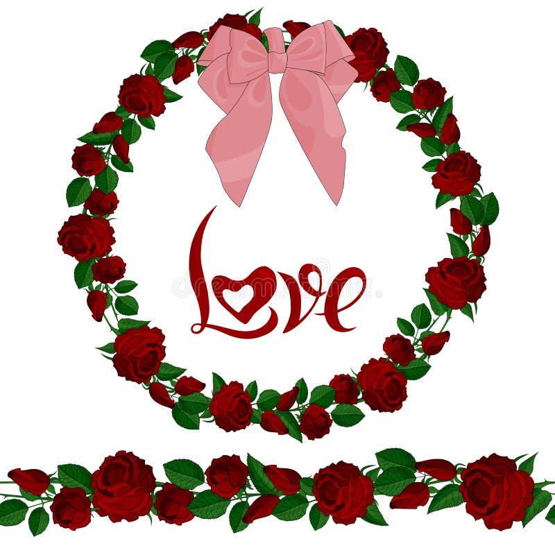 Sömlös borste och krans av röda rosor med bokstäver vektor illustrationer