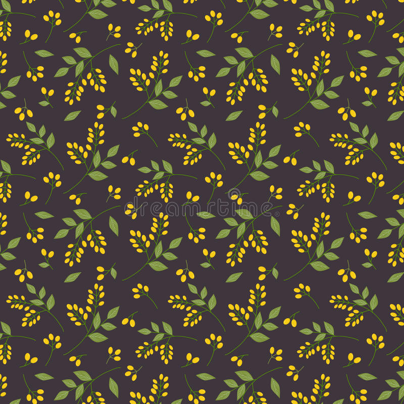 Sömlös botanisk gräsplan för modellgulingseaberries fattar sidor all över tryck på mörk purpurfärgad bakgrund, tyg, gobelängen, w royaltyfri illustrationer