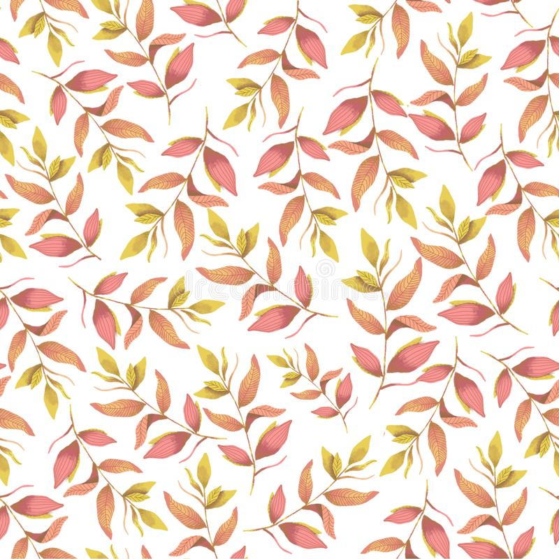 Sömlös botanisk rosa färggulingmodell Digital illustration vektor illustrationer