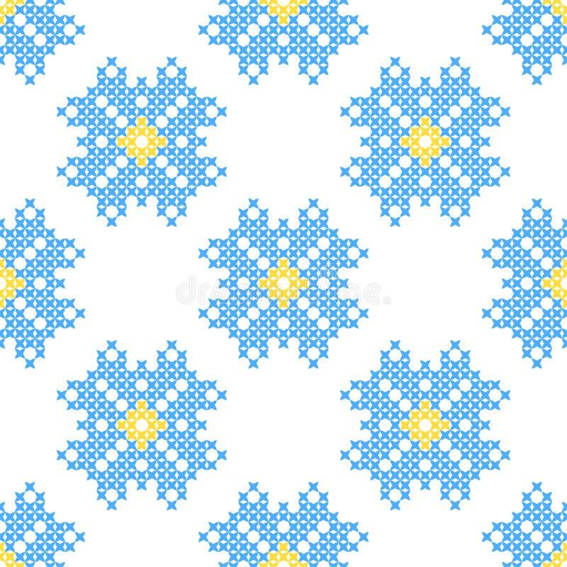 Sömlös broderad textur av abstrakt begreppblåttmodeller royaltyfri illustrationer