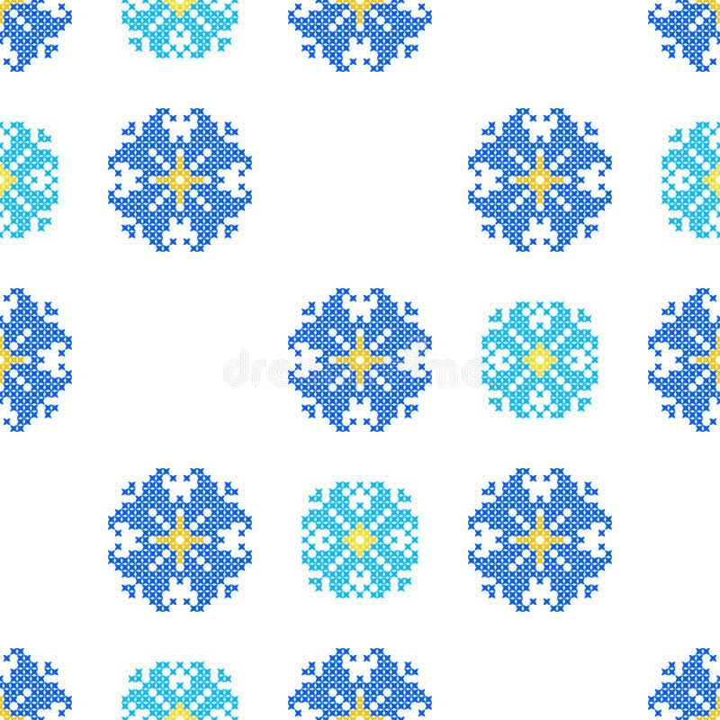Sömlös broderad textur av abstrakt begreppblåttmodeller vektor illustrationer