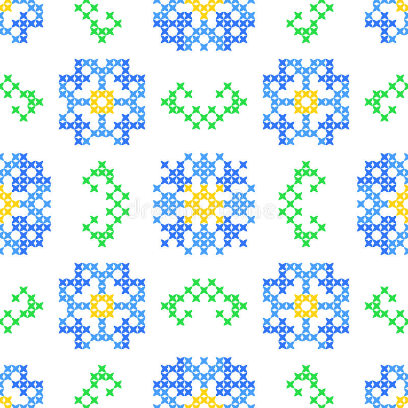 Sömlös broderad textur av abstrakt begreppblommor och sidor royaltyfri illustrationer