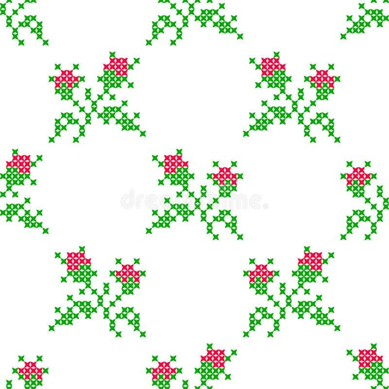 Sömlös broderad textur av blommarosor vektor illustrationer