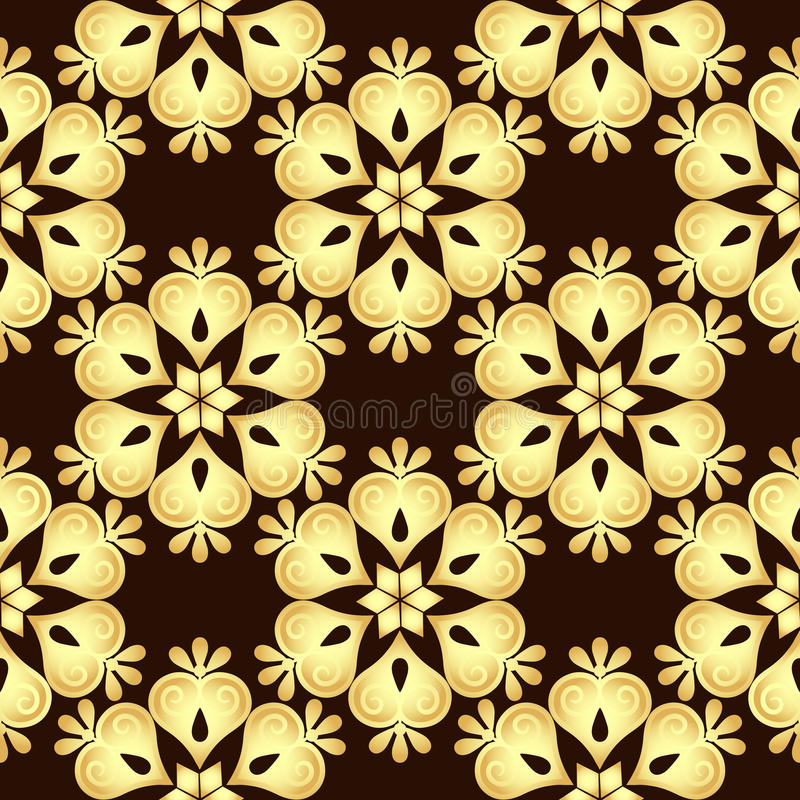 Sömlös brunt-guld tappningmodell vektor illustrationer