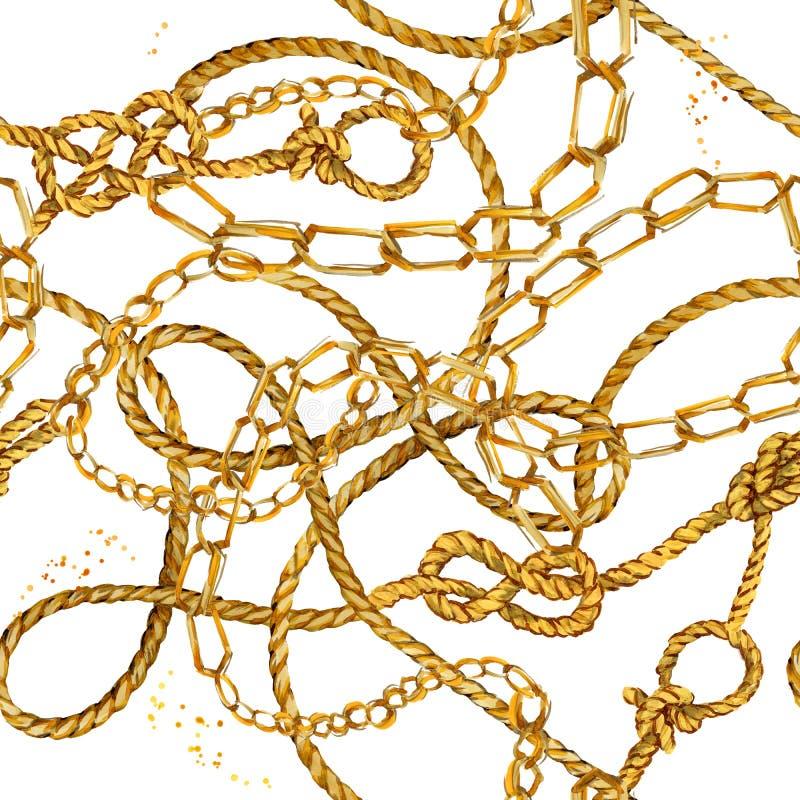 Sömlös bunden fisknätbakgrund för nautiskt rep marin- fnuren och tågvirkemodell fisknätvattenfärgillustration Guld- kedjor royaltyfri illustrationer