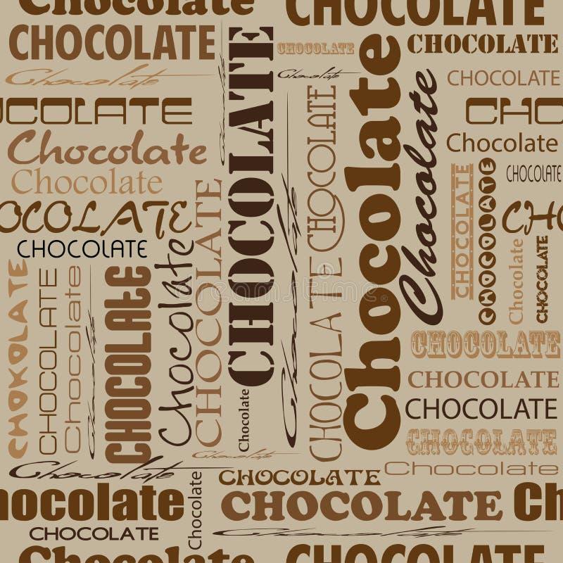Sömlös chokladmodell med ord av choklad med olikt stock illustrationer