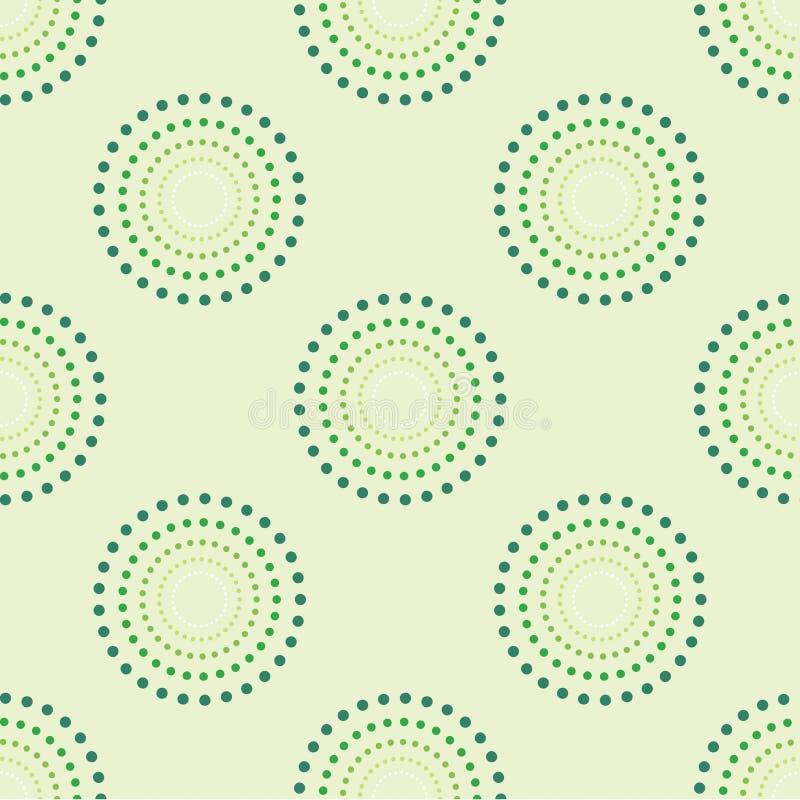 Sömlös cirkel Dots Green Background Abstract Pattern 1 royaltyfri illustrationer