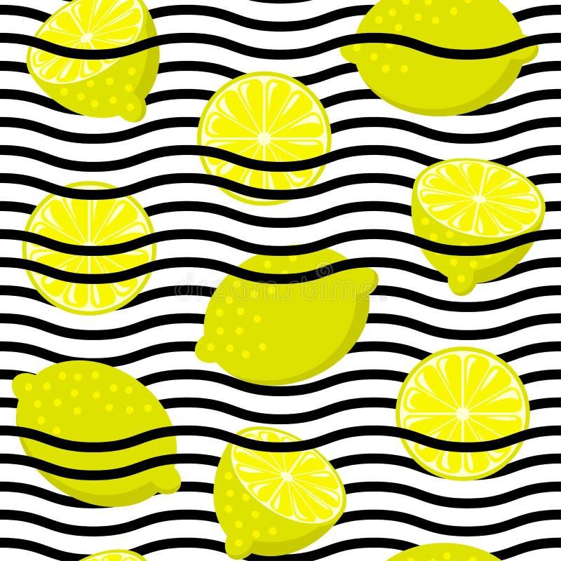 Sömlös citron på svartvita vågband Tappningfruktbakgrund vektor illustrationer