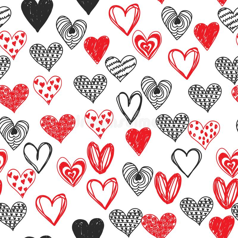 Sömlös dag för valentin för klotterförälskelsehjärta royaltyfri illustrationer
