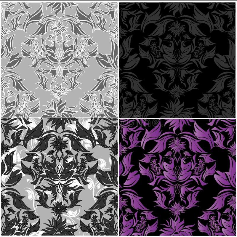 Sömlös damast blommamodell royaltyfri illustrationer