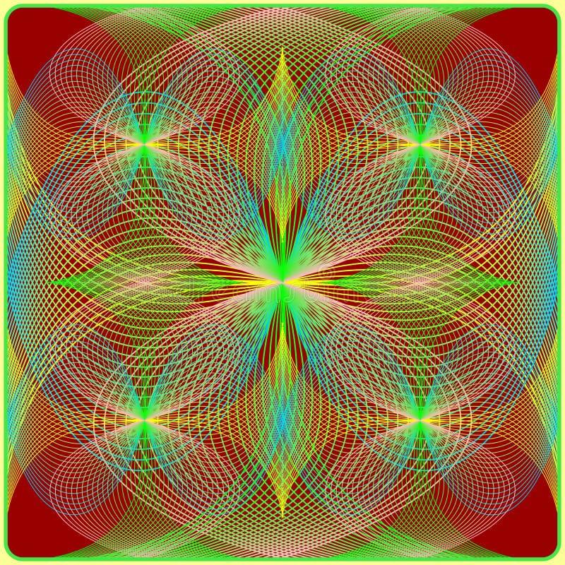 Sömlös dekorativ bakgrund, den geometriska designen som liknar blommar i en sfär stock illustrationer