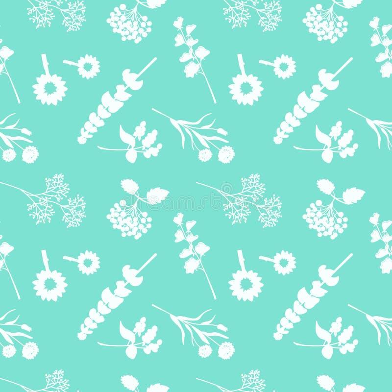 Sömlös dekorativ blom- bakgrund på grön bakgrund vektor illustrationer