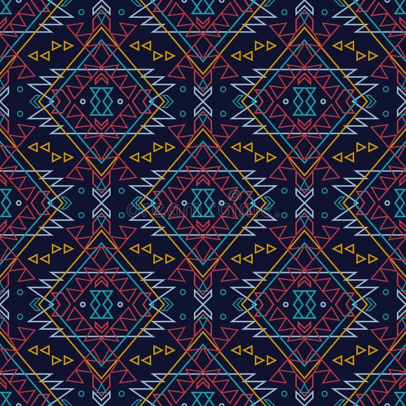 Sömlös dekorativ etnisk modell för vektor Amerikanska indiska motiv royaltyfri illustrationer