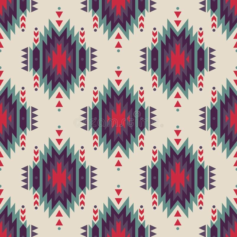 Sömlös dekorativ etnisk modell för vektor Amerikanska indiska motiv stock illustrationer