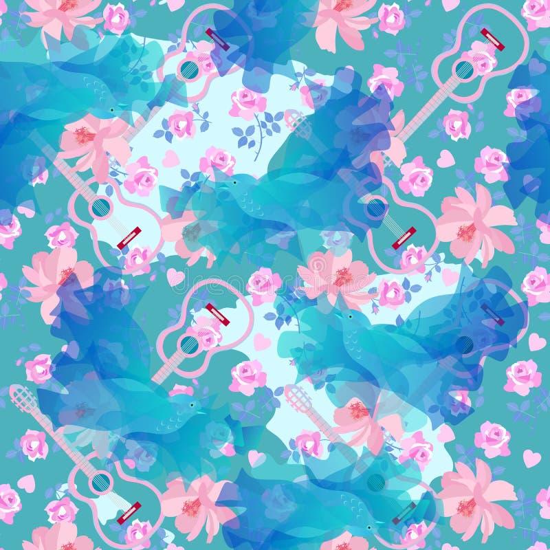 Sömlös dekorativ modell med blåa felika fåglar, rosa fliwers, små hjärtor och konturer av gitarrer Tryck f?r tyg vektor illustrationer