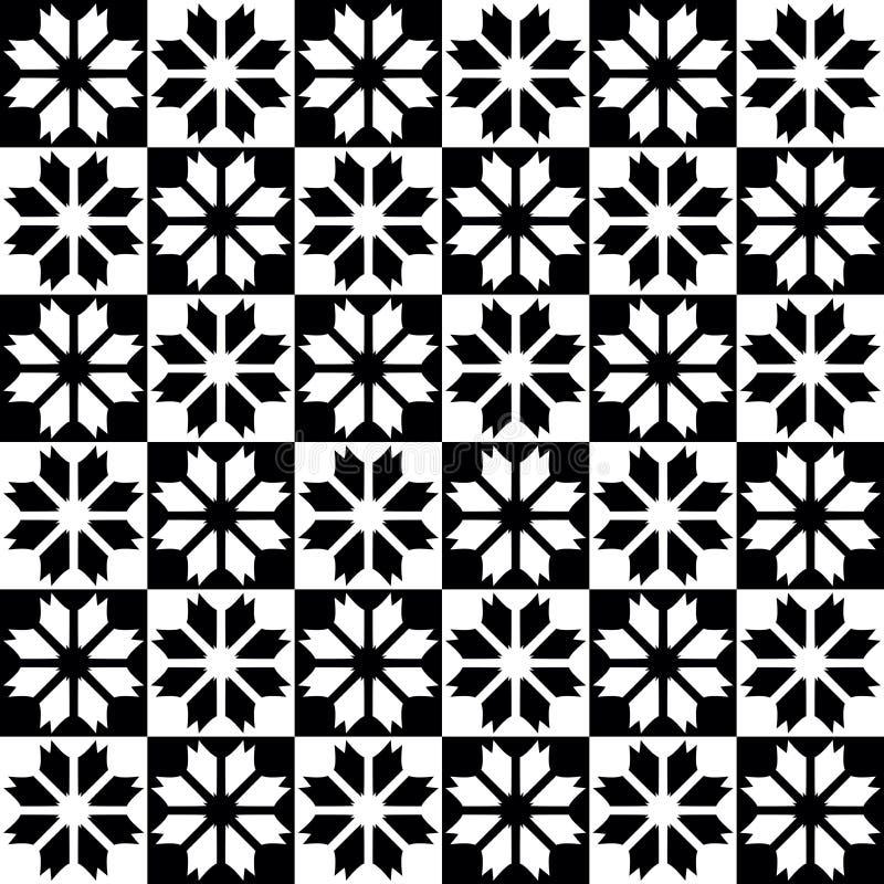 Sömlös dekorativ modell med decoartive flaowewrs i svartvita färger vektor illustrationer