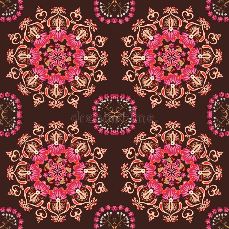 Sömlös dekorativ modell med den stiliserade mandalaen och olika blommor på brun bakgrund i vektor etniska bevekelsegrunder royaltyfri illustrationer