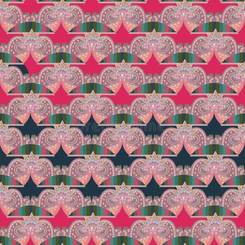 Sömlös dekorativ vågmodell med stiliserade kronor, band och abstrakta små blommor Tryck f?r tyg Asiatiska motiv vektor illustrationer
