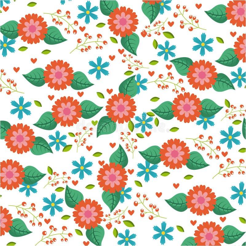 Sömlös den modellblått och apelsinen blommar garnering för sidahjärtabär royaltyfri illustrationer