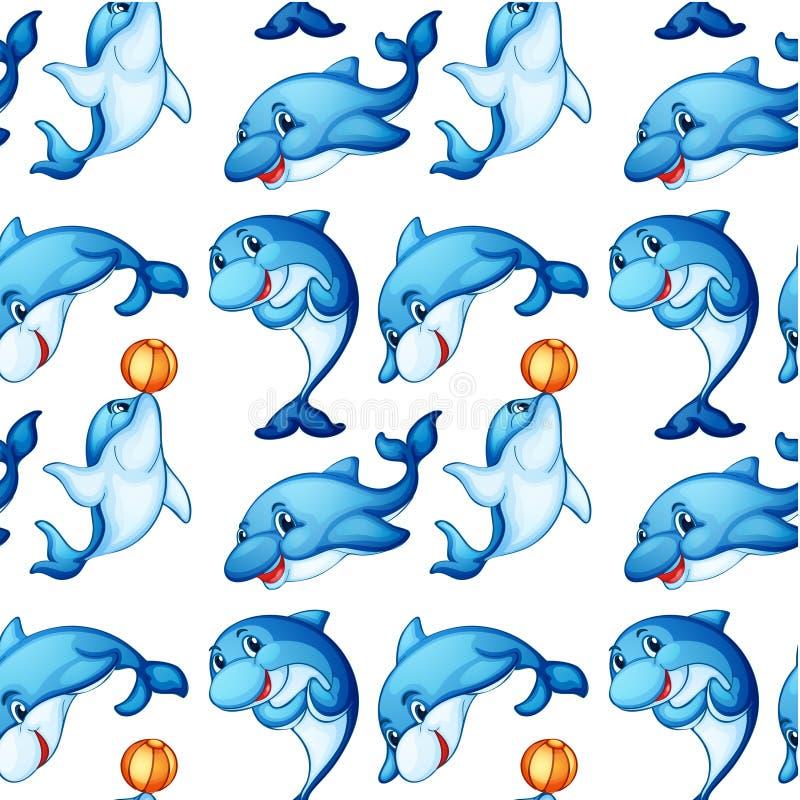 Sömlös design av delfin royaltyfri illustrationer