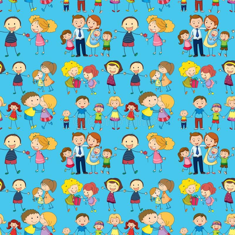 Sömlös design av en familj vektor illustrationer