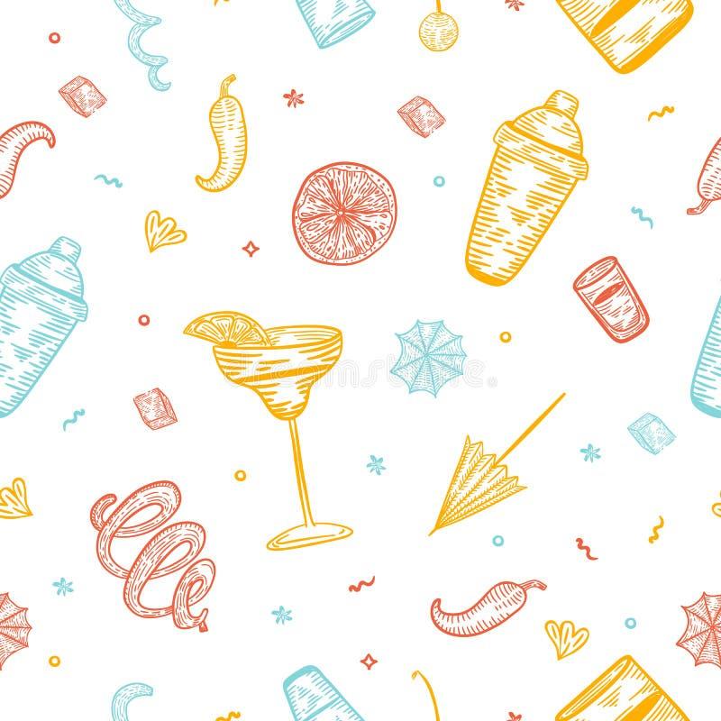Sömlös design för cocktailpartymodellvektor med exponeringsglas, shaker, citron Dragen färgrik hand för alkoholklottergravyr stock illustrationer