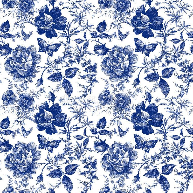 Sömlös design med rosblommor Linje diagram för modell för utdragen tappning för sagaskoghand botanisk modetextildesign I stock illustrationer