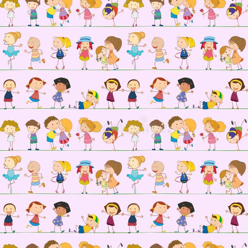 Sömlös design med ungar royaltyfri illustrationer