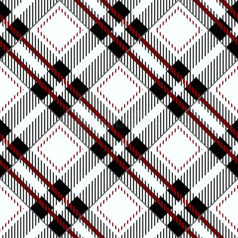 Sömlös diagonal modell eps 10 för svart ginghambordduk stock illustrationer