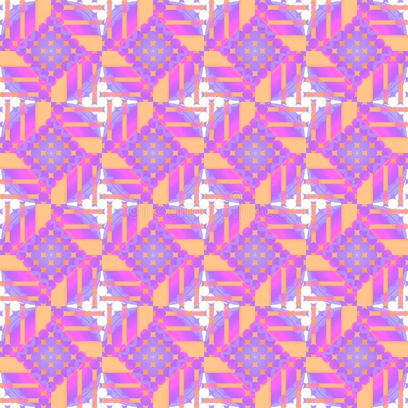 Sömlös diamantmodell med apelsinen för vit violet för cirklar den purpurfärgade vektor illustrationer