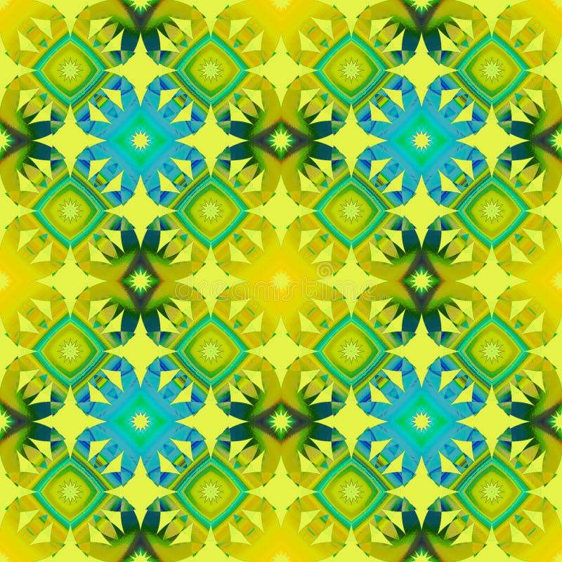 Sömlös diamantmodell med blom- beståndsdelar i turkosblått för gul gräsplan stock illustrationer