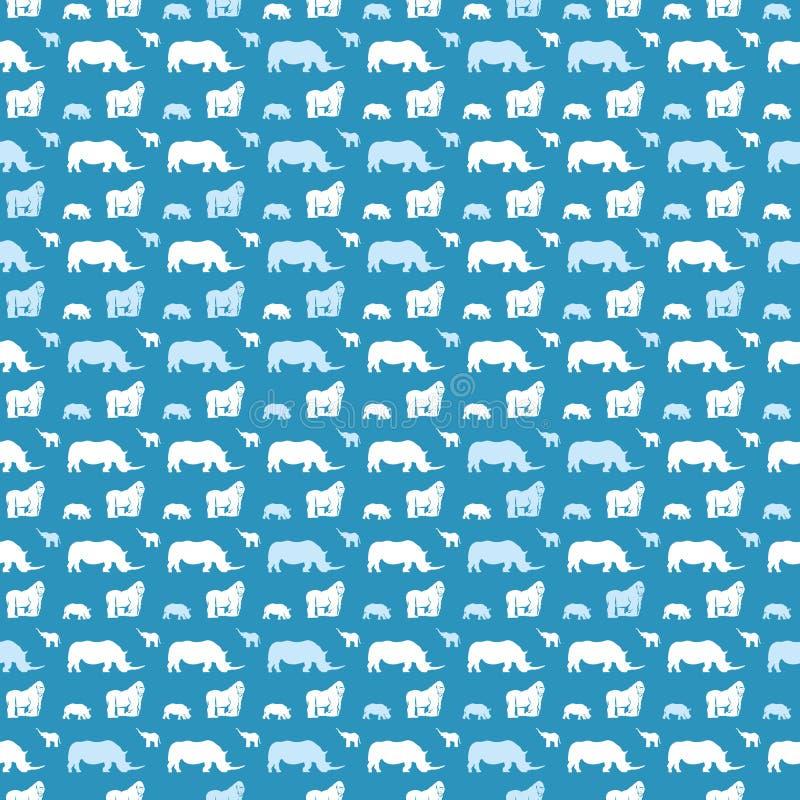 Sömlös djur modell för ungar på blått royaltyfri illustrationer