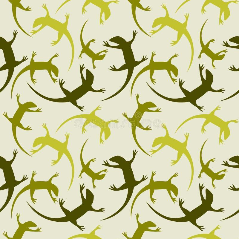 Sömlös djur vektormodell, kaotisk bakgrund med färgrika reptilar, konturer över ljus - grön bakgrund royaltyfri illustrationer