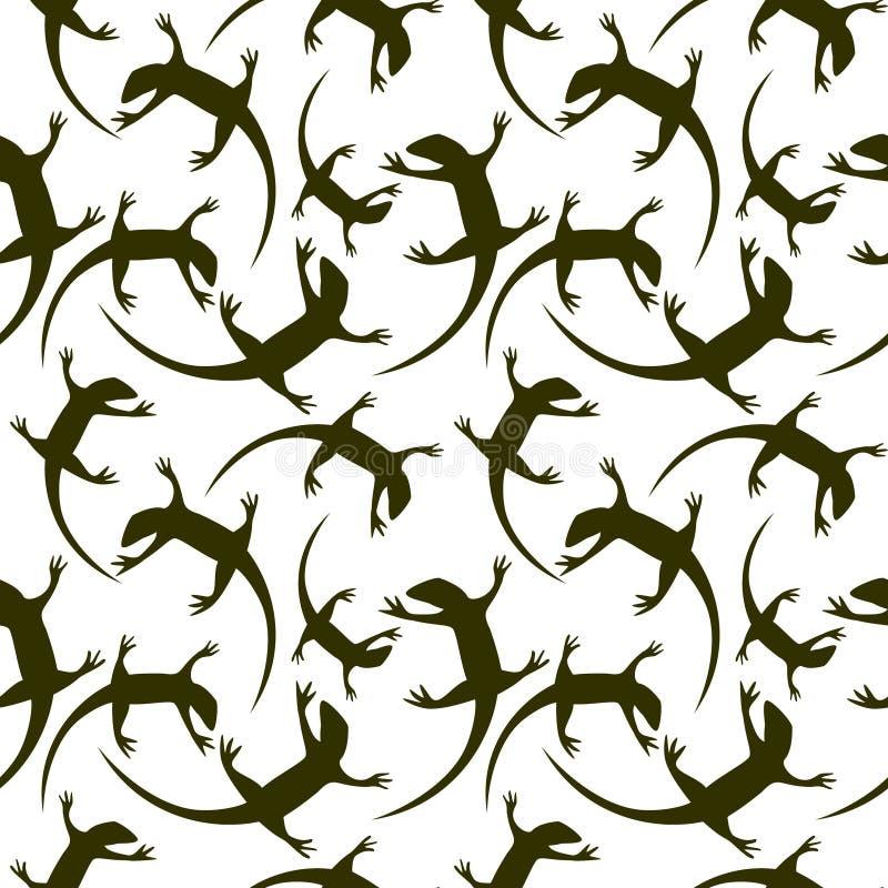 Sömlös djur vektormodell, kaotisk bakgrund med mörka reptilar, konturer över den vita bakgrunden vektor illustrationer