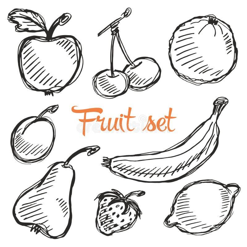 Sömlös dragen modell för frukt hand med äpplet, körsbär, citron, banan, jordgubbe, plommon, päron, persika, apelsin Tappningbohob stock illustrationer