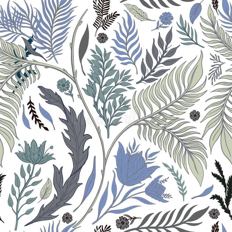 Sömlös dragen modellhand för abstrakt natur Etnisk prydnad, blom- tryck, textiltyg, botanisk beståndsdel retro stiltappning royaltyfri illustrationer