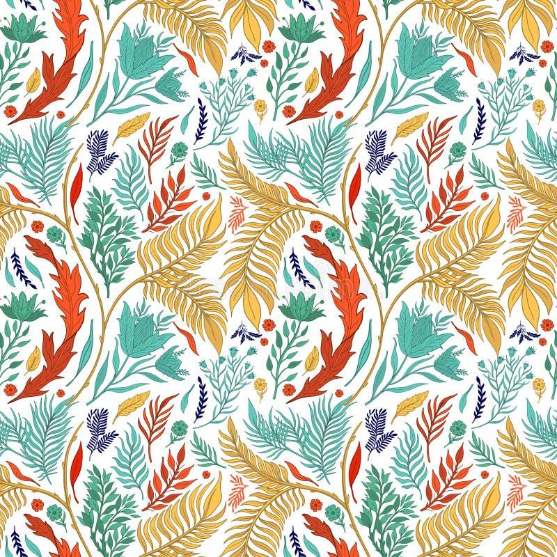 Sömlös dragen modellhand för abstrakt natur Etnisk prydnad, blom- tryck, textiltyg, botanisk beståndsdel retro stiltappning stock illustrationer