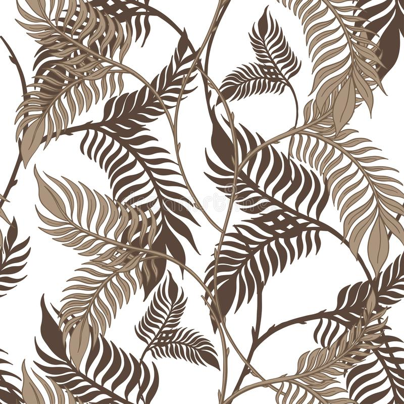 Sömlös dragen modellhand för abstrakt natur Etnisk prydnad, blom- tryck, textiltyg, botanisk beståndsdel retro stiltappning vektor illustrationer