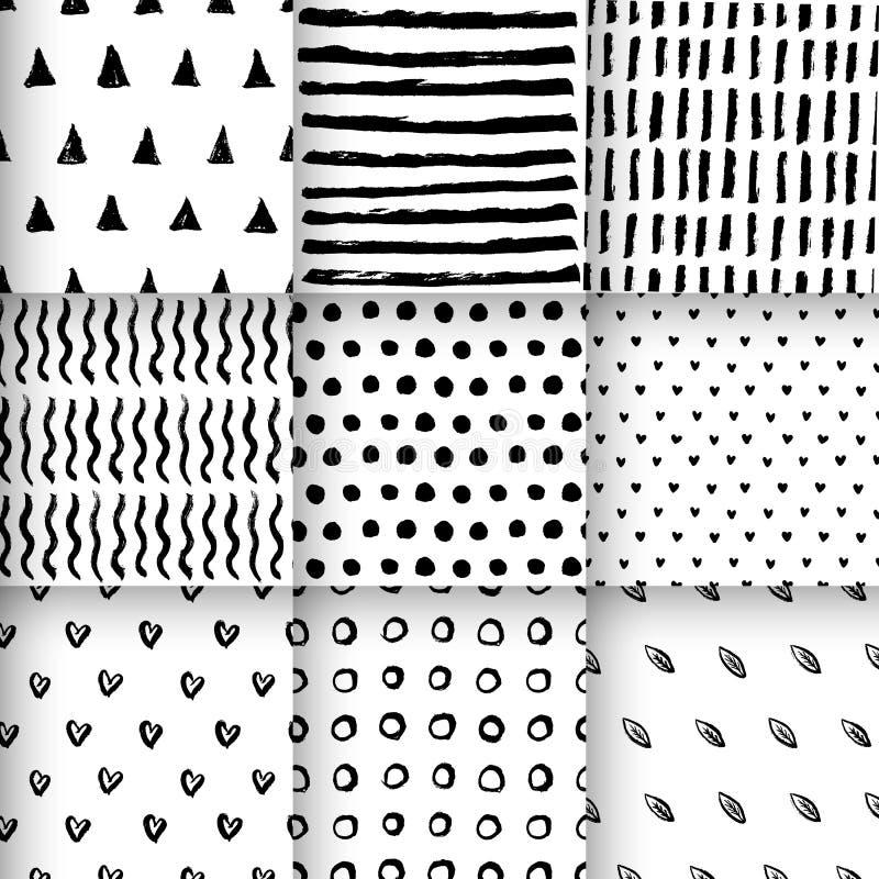 Sömlös dragen vektor för modeller hand vektor illustrationer