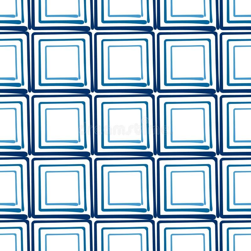 Sömlös drog fyrkanter för vektorabstrakt begreppbakgrund hand royaltyfri illustrationer