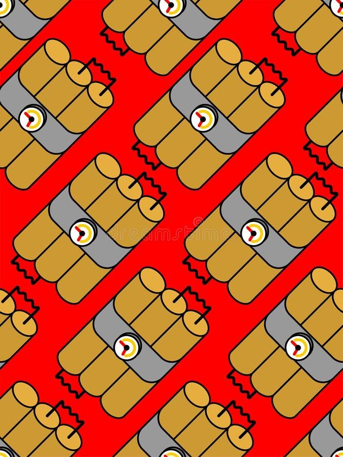Sömlös dynamitpinnemodell TNT-sprängmedelbakgrund Bom stock illustrationer