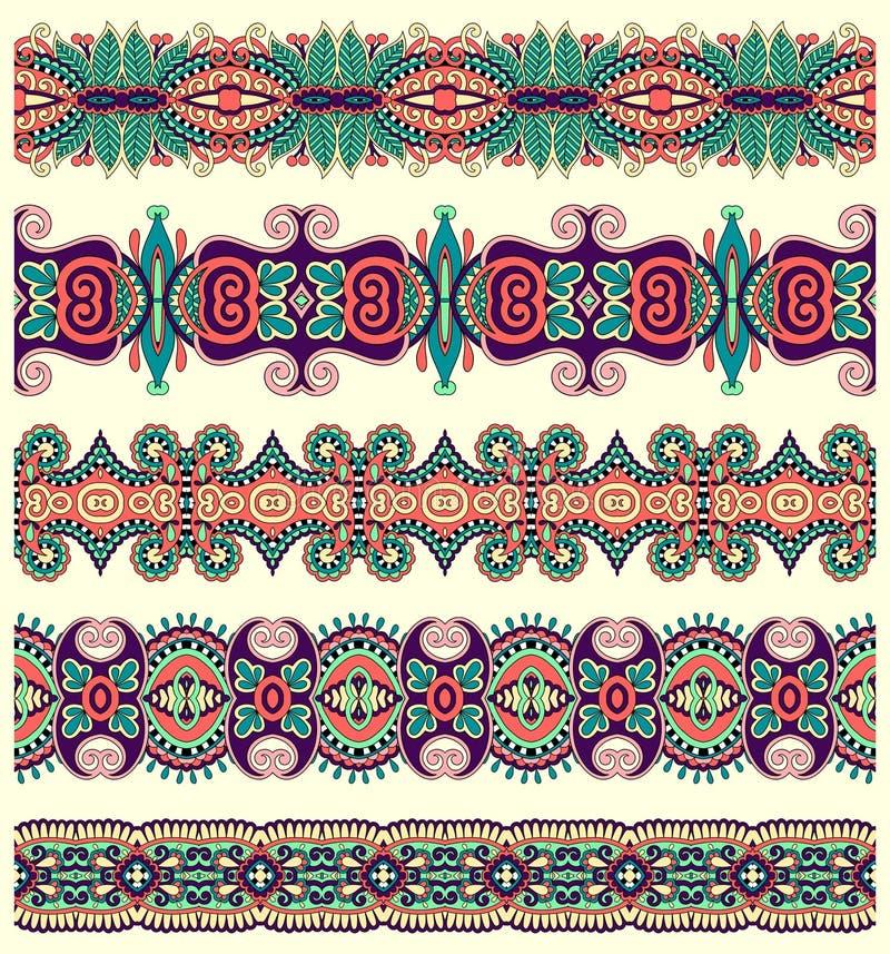 Sömlös etnisk blom- paisley bandmodell, vektor illustrationer