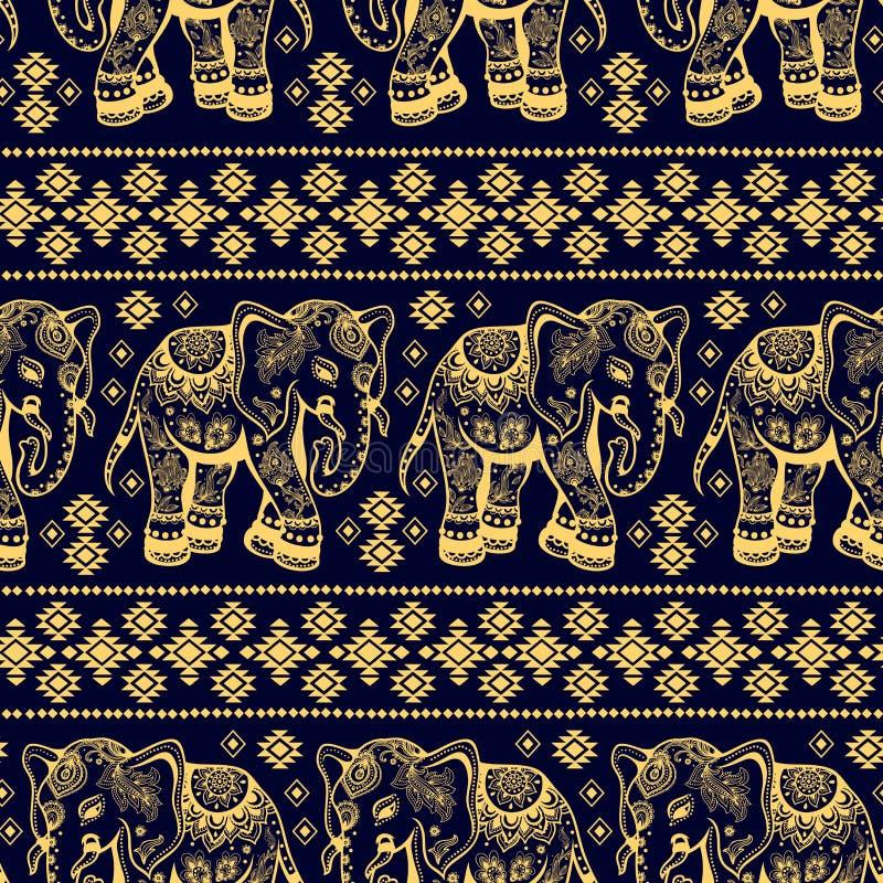 Sömlös etnisk elefant royaltyfri illustrationer